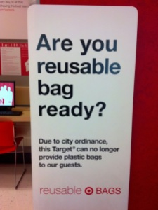 A sign at Target, a department/grocery store in downtown Seattle