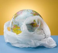 jorden i en plastpåse